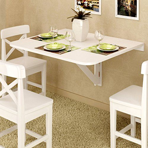 Large Wall Mount Drop Leaf Table White Solid Wood 36 X 30 Inches