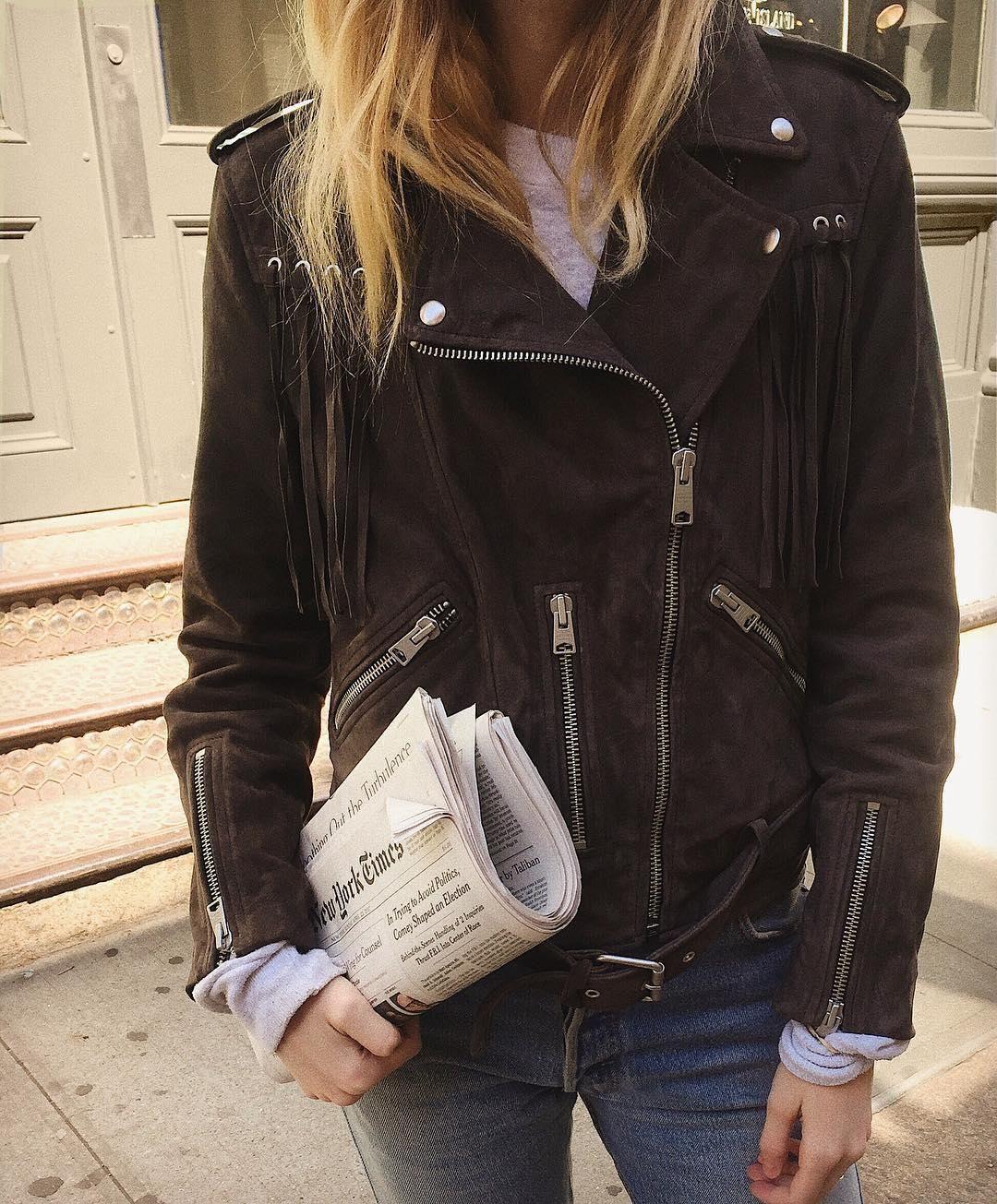 62bf0dc84b7 Christie Tyler wears her favourite staple item, the tassel Balfern suede  biker jacket.