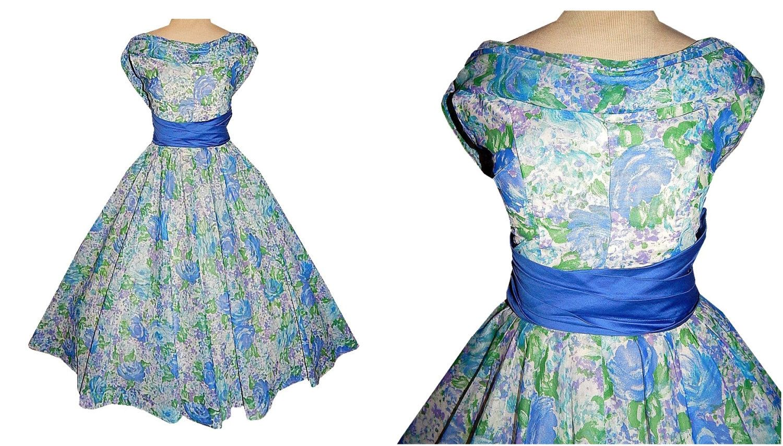 Vintage 50\'s Blue Roses Floral Print Party Dress // 1950\'s Cotton ...