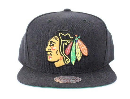 the best attitude 11213 5cbce ... usa chicago blackhawks mitchell ness snapback hats black green under  brim blackhawks snapbacks nhl blackhawks snapback