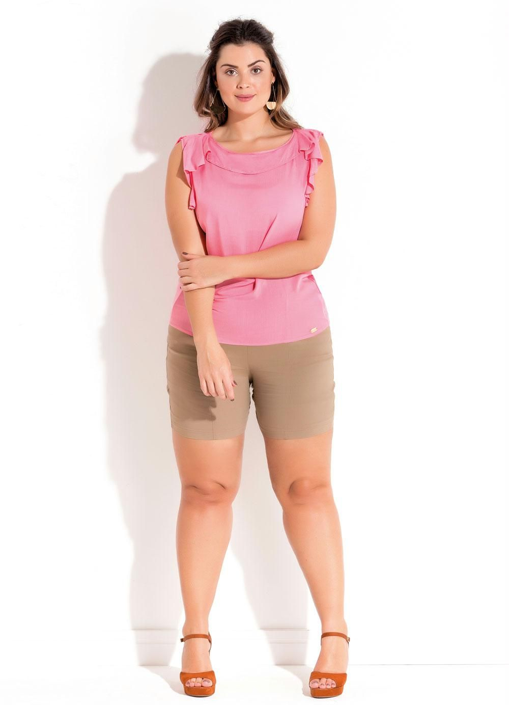 5390a2fe67 Blusa com Babado Rosa Plus Size Quintess - Quintess Outlet