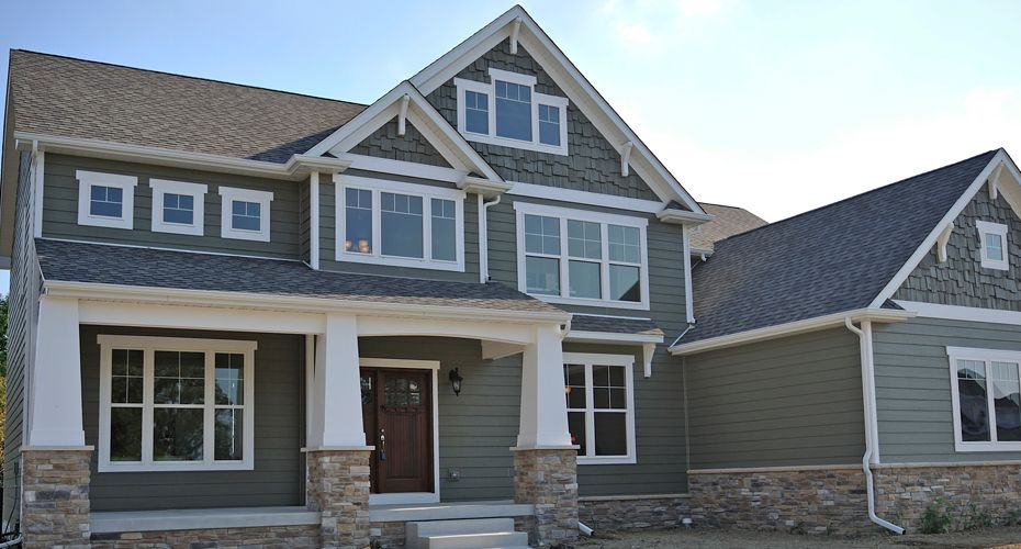 With New England Front Elevation Including Cottage Columns