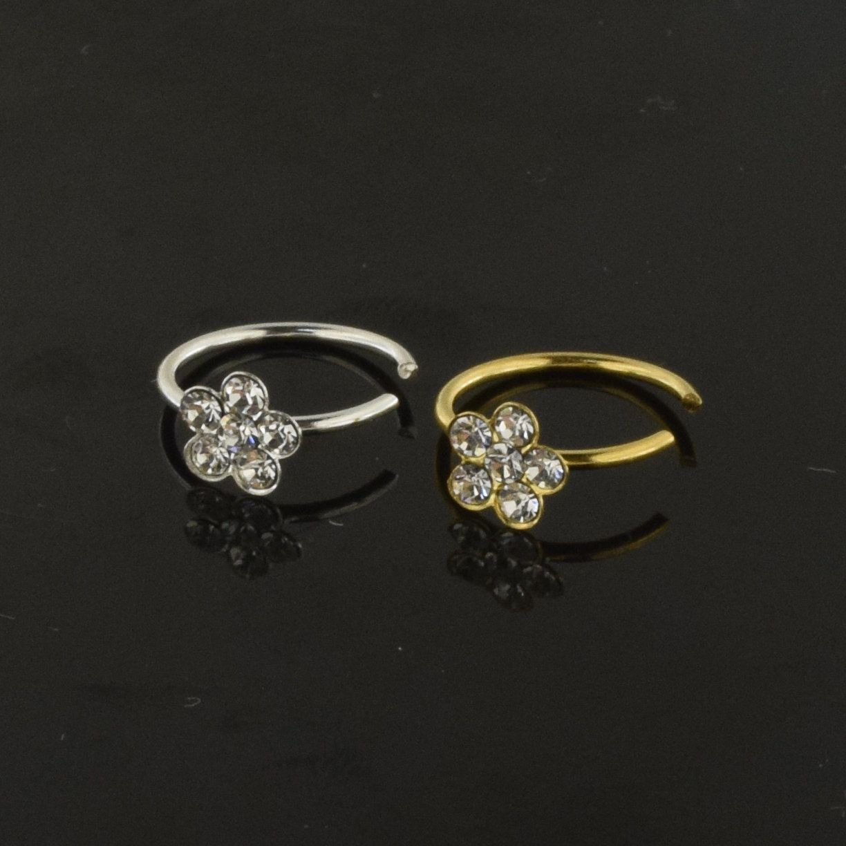 925 sterling silver flower nose ring with clear cubic