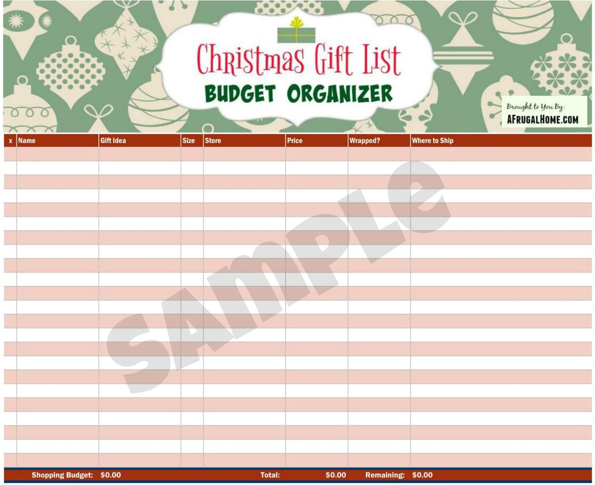 Get organized this Christmas with this free Gift List & Budget ...