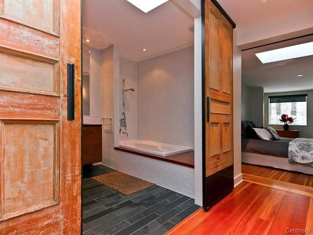 maison Boyer - how to recycle old doors into sliding doors