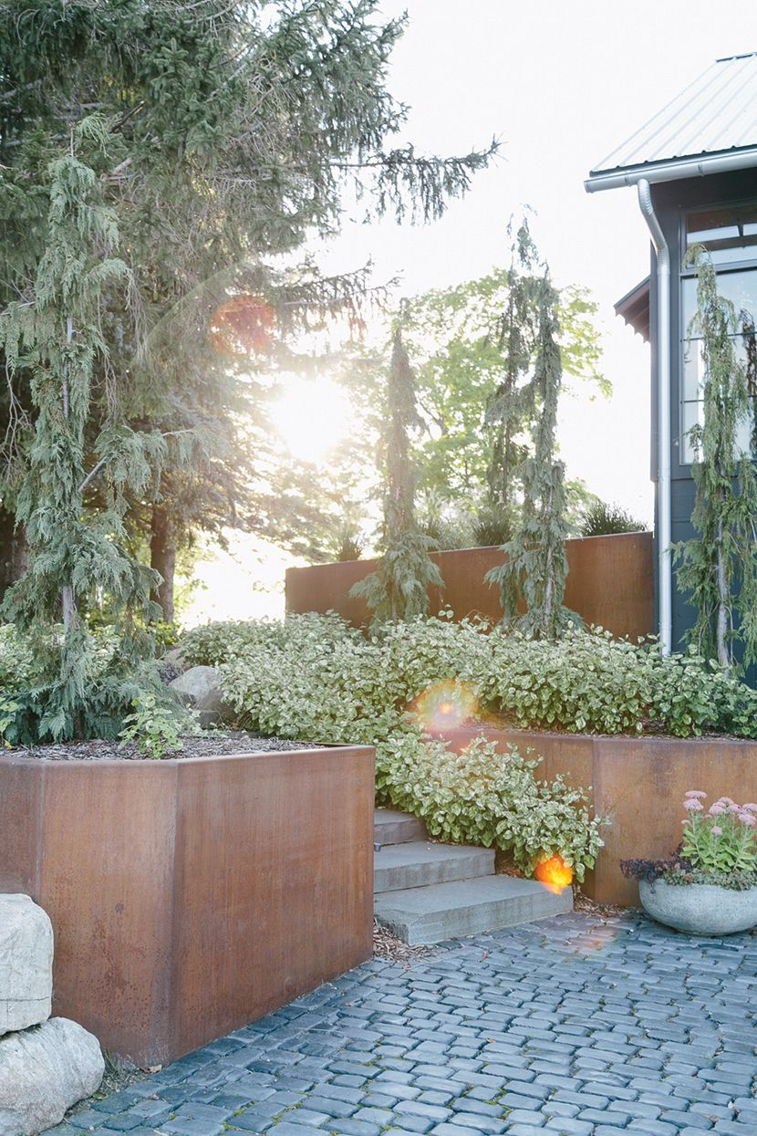 Retaining wall idea for our Leelanau pad....  Home Tour: Chet and Kyle in Northport, Michigan     The Fresh Exchange