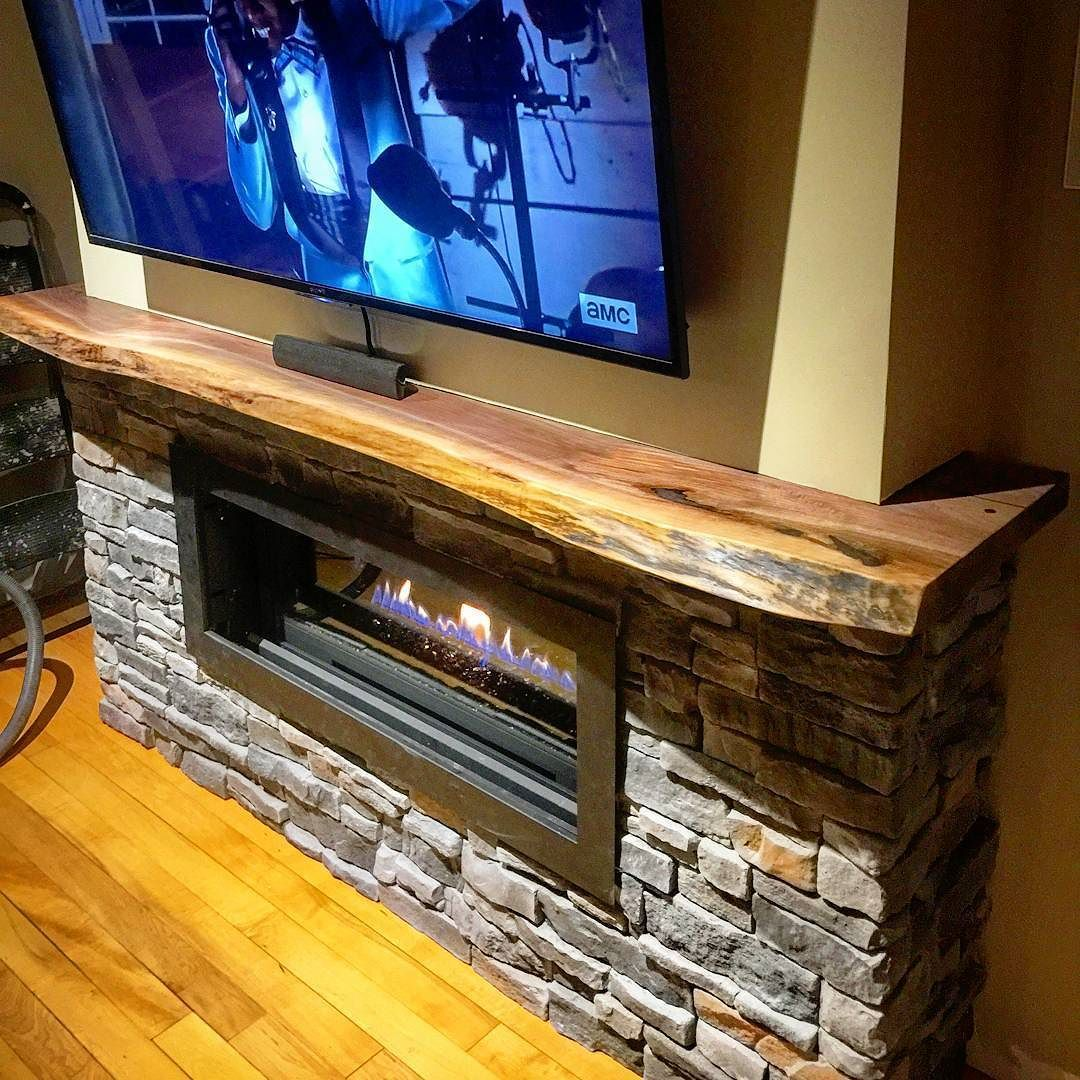 Custom Live Edge Black Walnut Mantel For A Client This One We Cut Larger Slab So It Wred Around The Fireplace Did Satin Clear Coat On