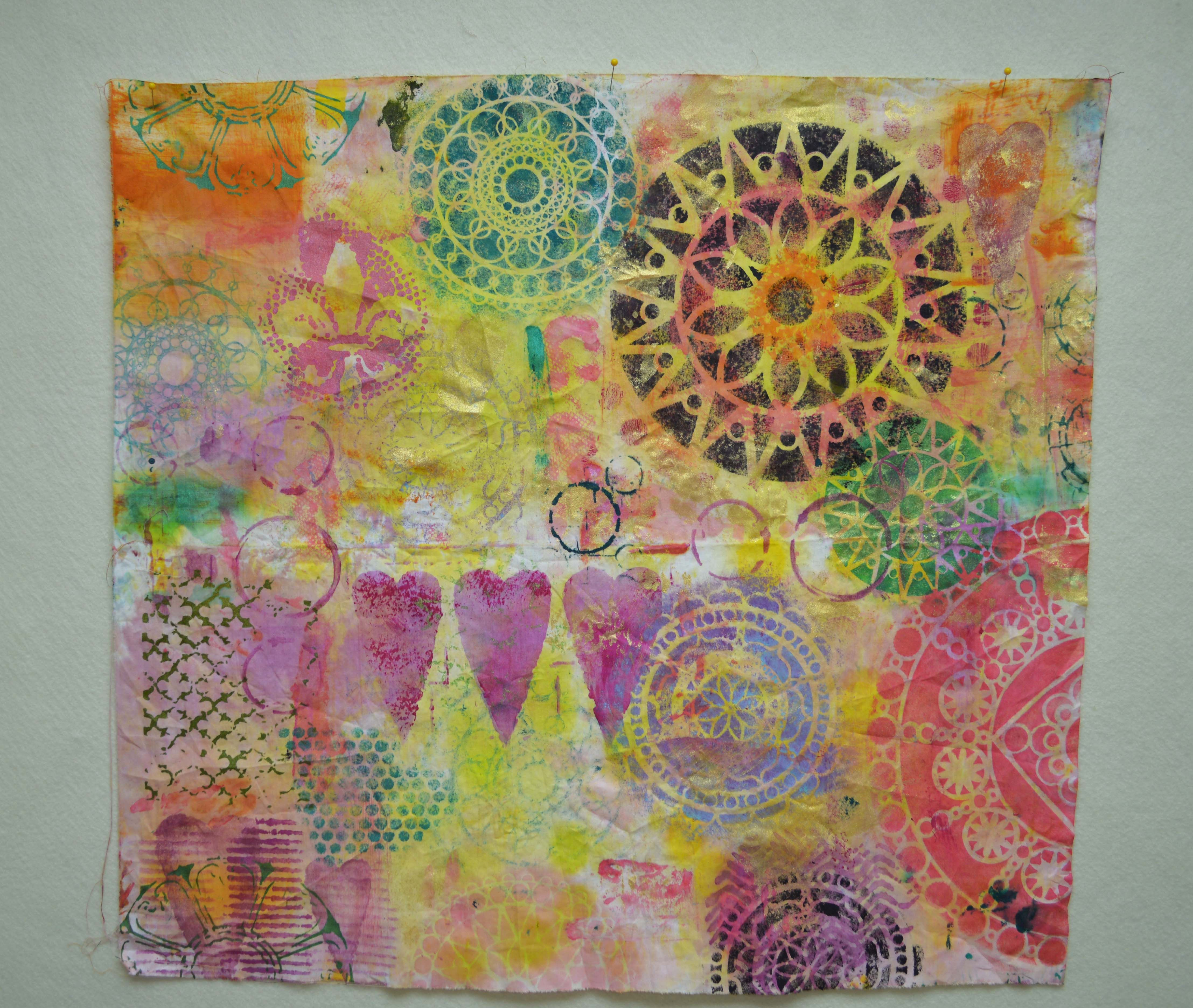 collage style fabric created with Rebekah Meier Stencils from The Crafter's Workshop