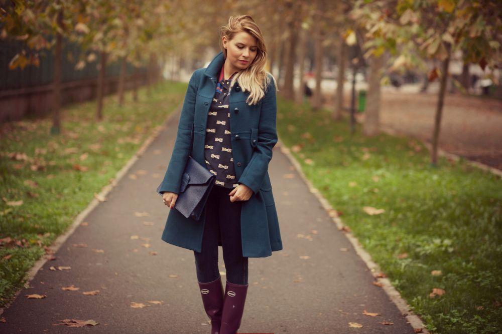 teal coat navy bag purple rain boots #autumn