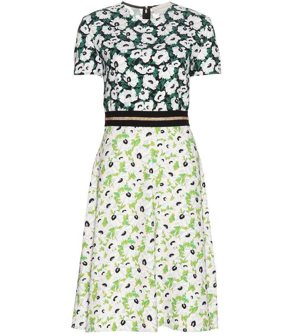 Robe en crêpe à motif floral vert et noir