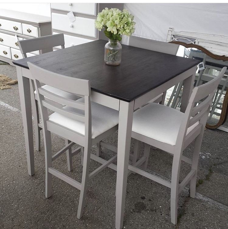 Redo Our Table Like This High Top Table Kitchen Top Kitchen Table Pub Table And Chairs