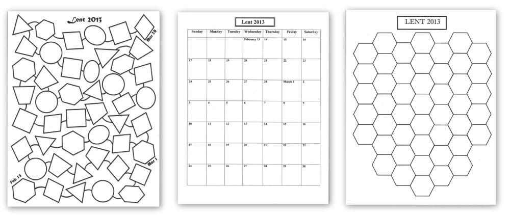 Hexagons Lenten Calendar Templates Pinterest - countdown calendar templates