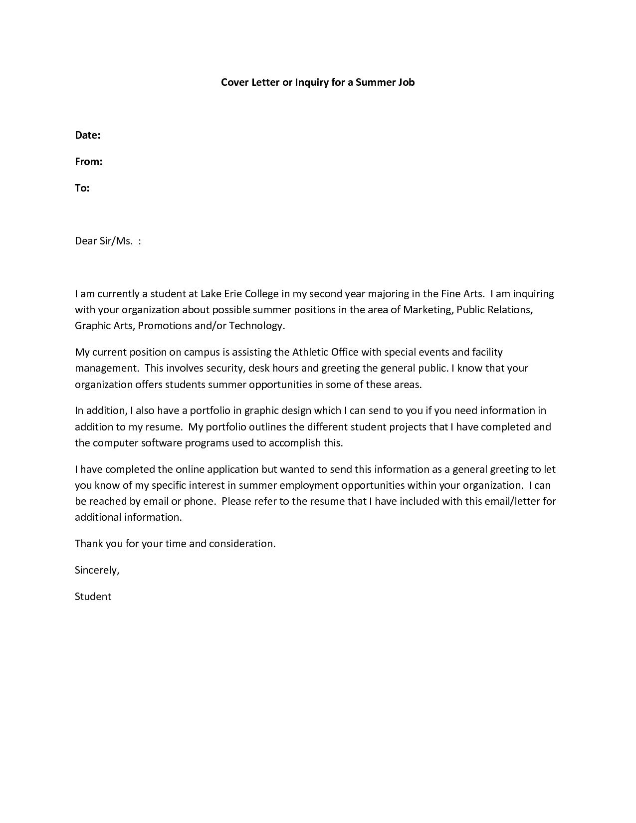 Resume Cover Letter Examples Summer Job Govt JobCover Letter