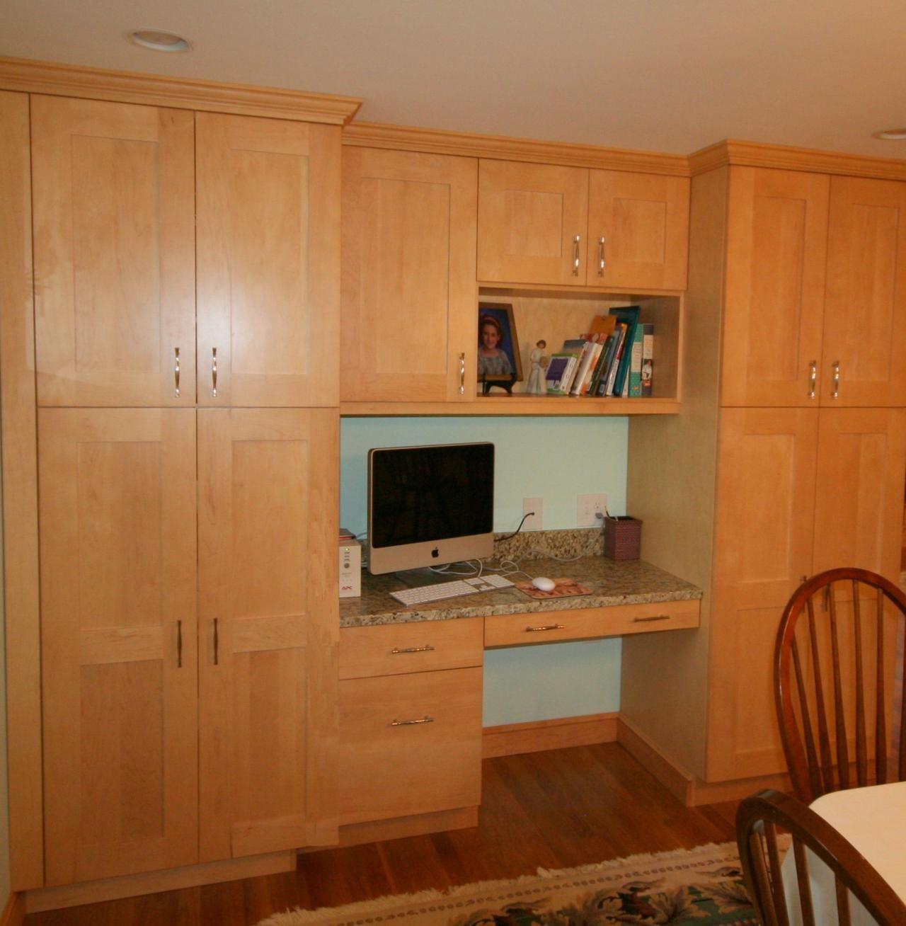 Desk Area Between Pantry Cabinets