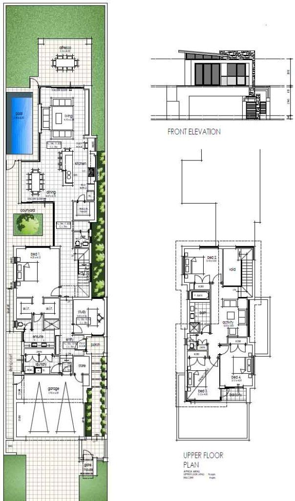 Final Narrow Two Storey Design Floor Plans | planos 3D apizaco ...