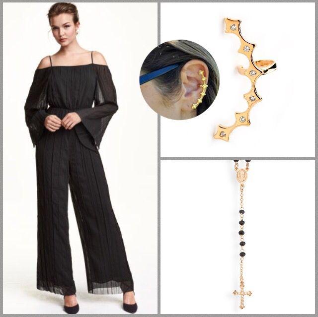 Mooi jumpsuit H&M gecombineerd met een rozenkrans van Amen en een earcuff van Mood