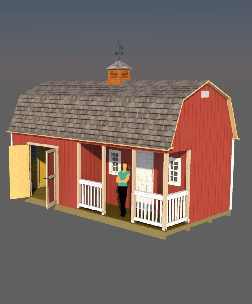 This 12x24 barn style shed has a huge loft for sleeping area nice front porch and makes for the perfect tiny house or cabin