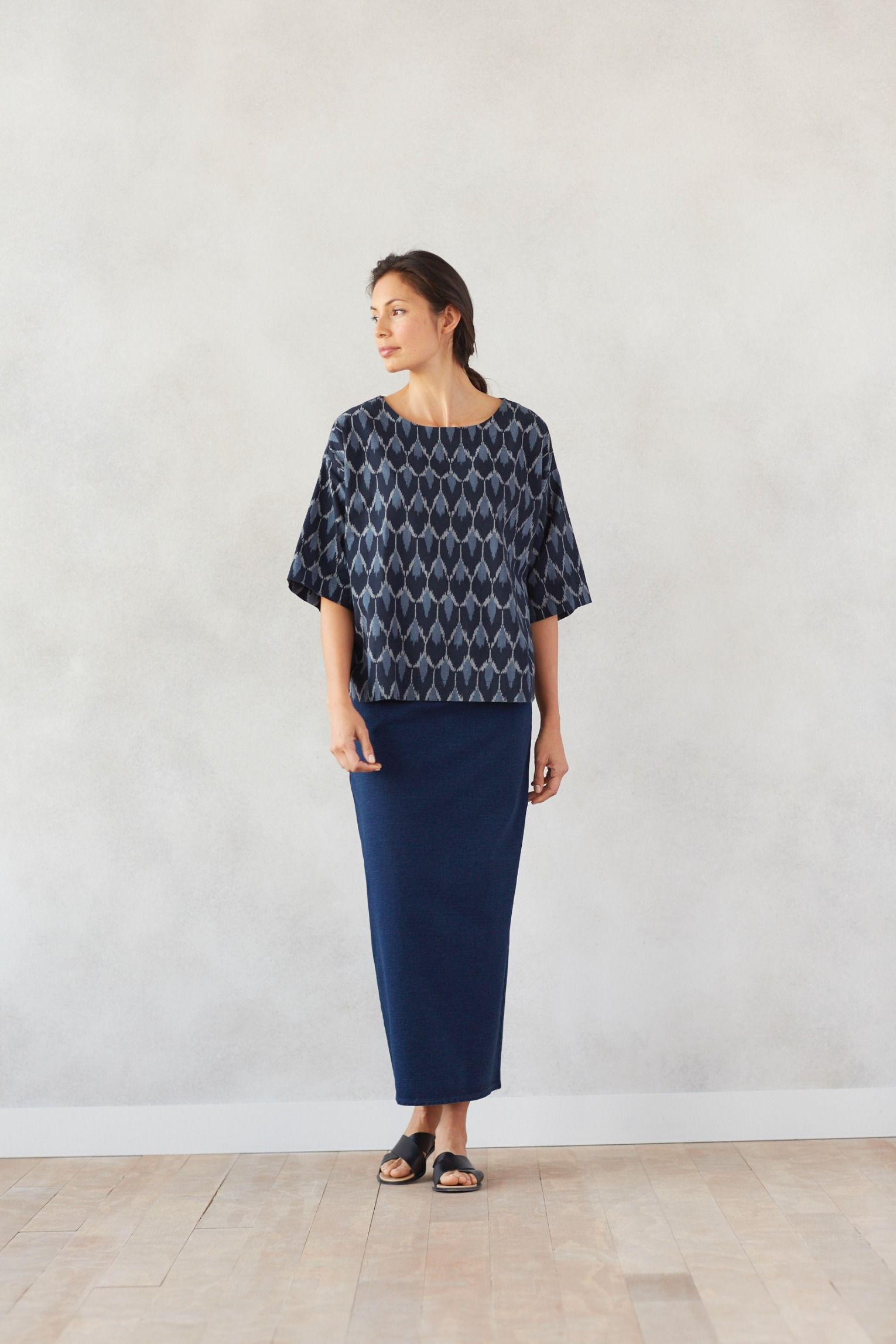 f9efc8a58f53 Simple shapes in rich indigo with our Pure Jill ikat kimono and Pure Jill  indigo knit maxi skirt