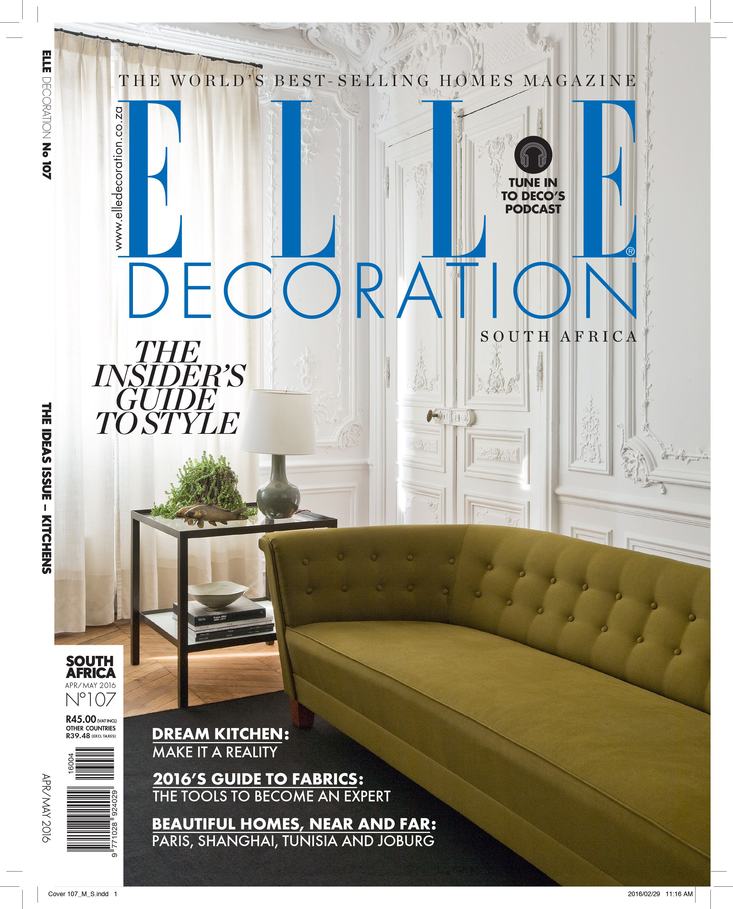 Elle Decoration South Africa Elle Decoration South Africa Issue 107 Editor Bielle