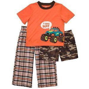 5893d73913a0 Carter s Boys Orange Monster Truck 3 Piece Pajama Set 2t-5t (12 ...
