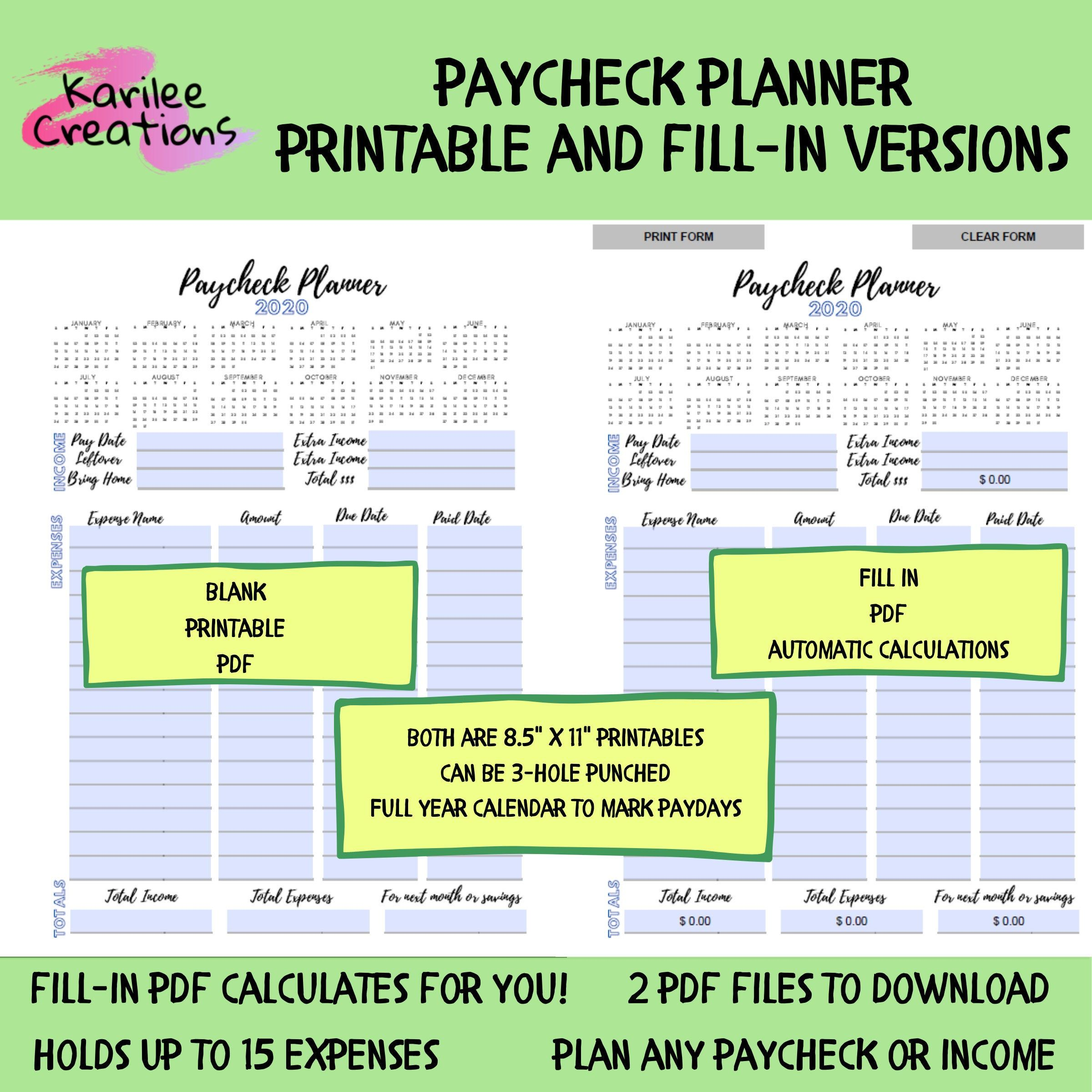 Printable Paycheck Planner Payday Budget Paycheck To Etsy Weekly Budget Planner Weekly Budget Budget Planner