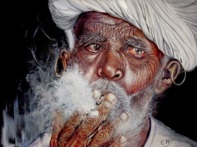 Retratos De Ancianos Rostros Al Oleo Pinturas Hiperrealistas Pintura Al óleo Realista Ancianos Tatuados