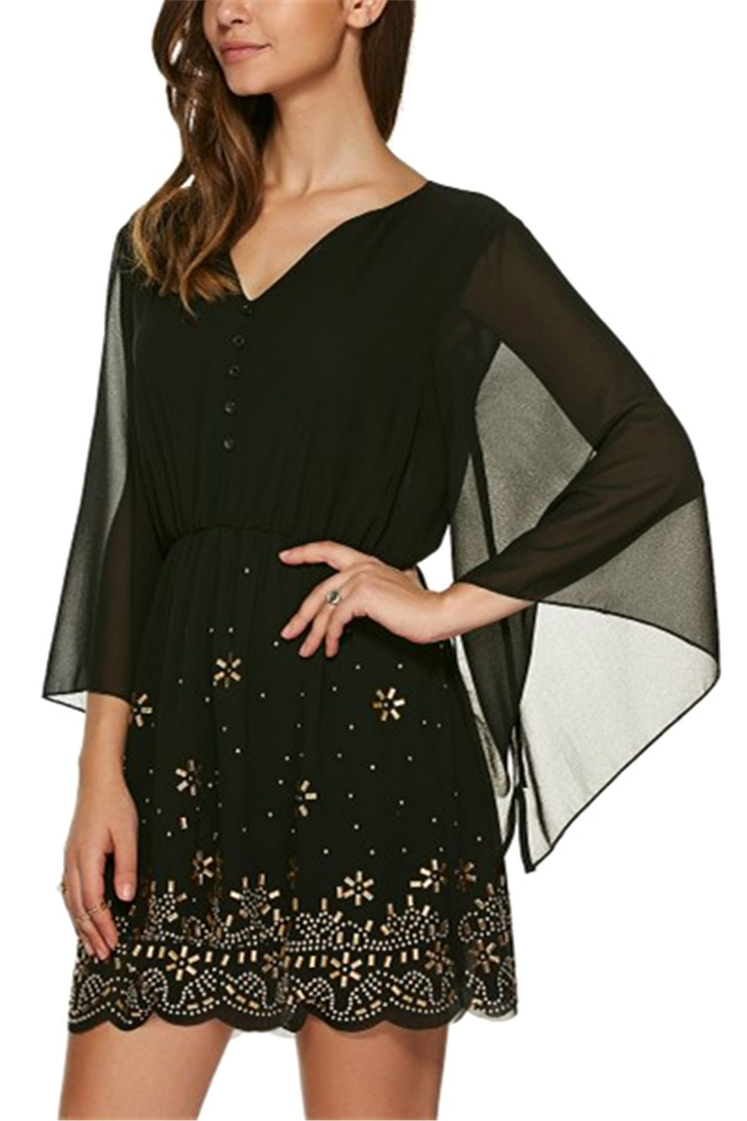 V neck sleeve rhinestone dress black xl sleeved dress