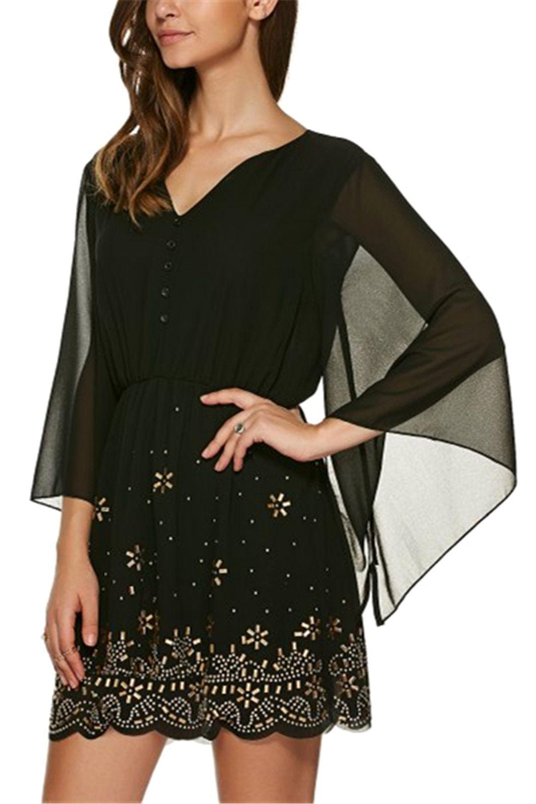 V neck sleeve rhinestone dress black xl sleeved dress