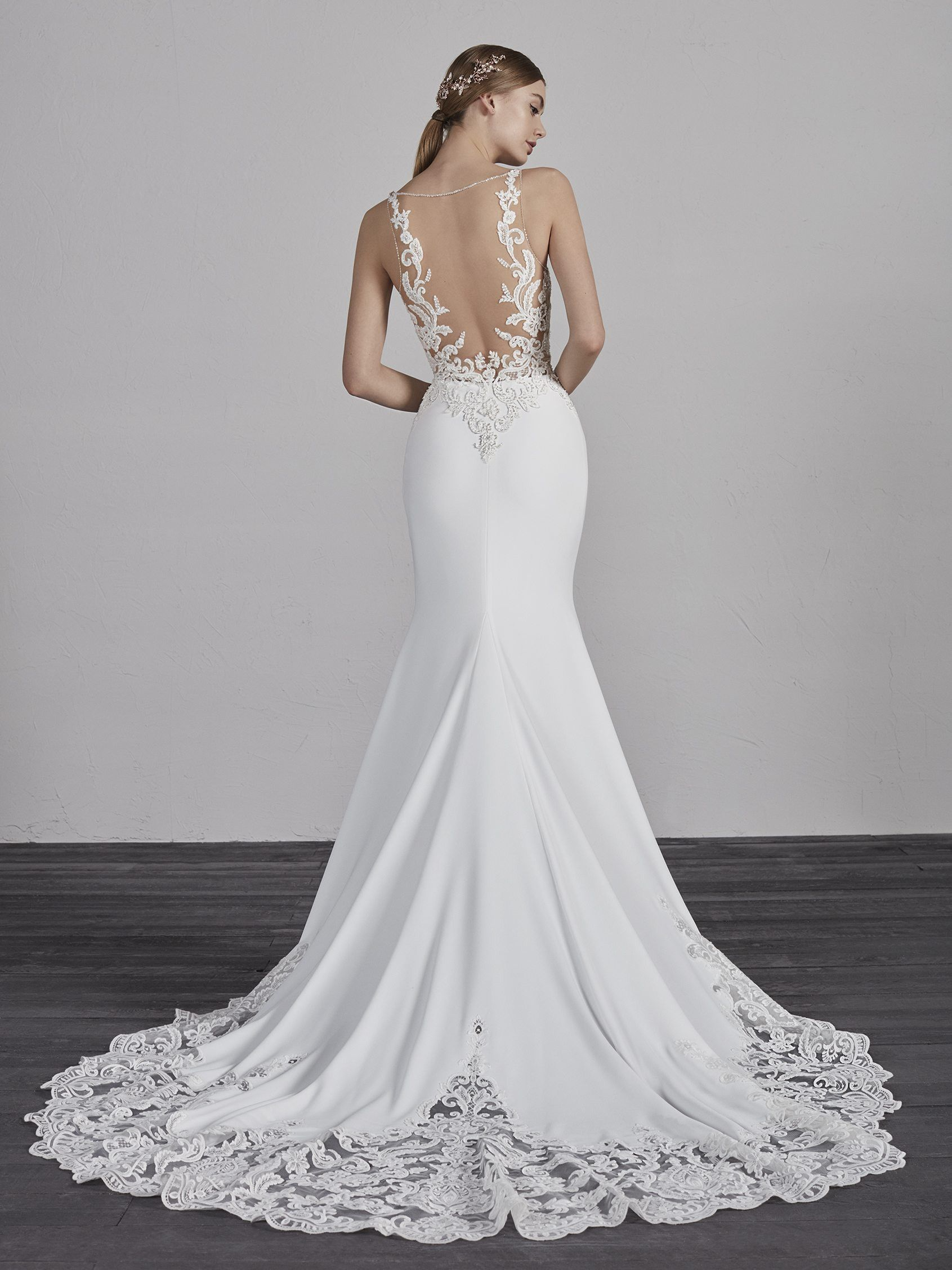 863c1a2b55216 Erandi | Pronovias | Available at Lulu's Bridal Boutique | Lulu's Bridal |  Dallas, Texas | Mermaid | V Neck | Embroidered | Lace | Crepe | Illusion  Back ...