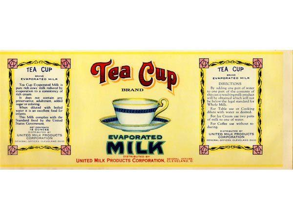 Taza de Té, leche evaporada Label