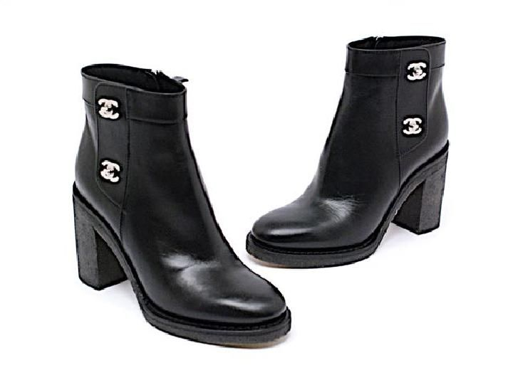 10477a8572 Black Leather Zip Silver Hardware Rubber Sole Boots/Booties | Chanel ...