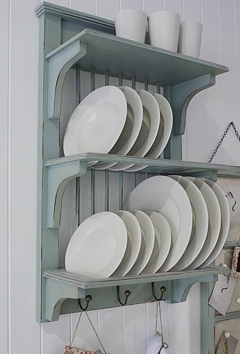 Duck Egg Blue Kitchen Plate Rack from The White Lighthouse #plateracks