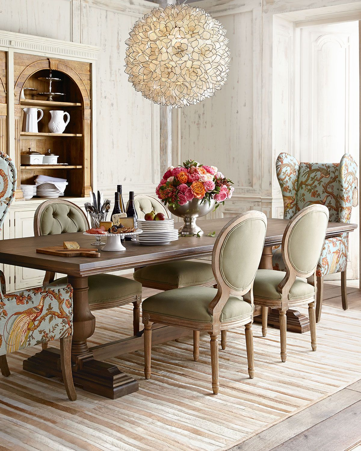 Side Table For Dining Room: Evelyn Dining Table, Blanchett Side Chair, And Pheasant