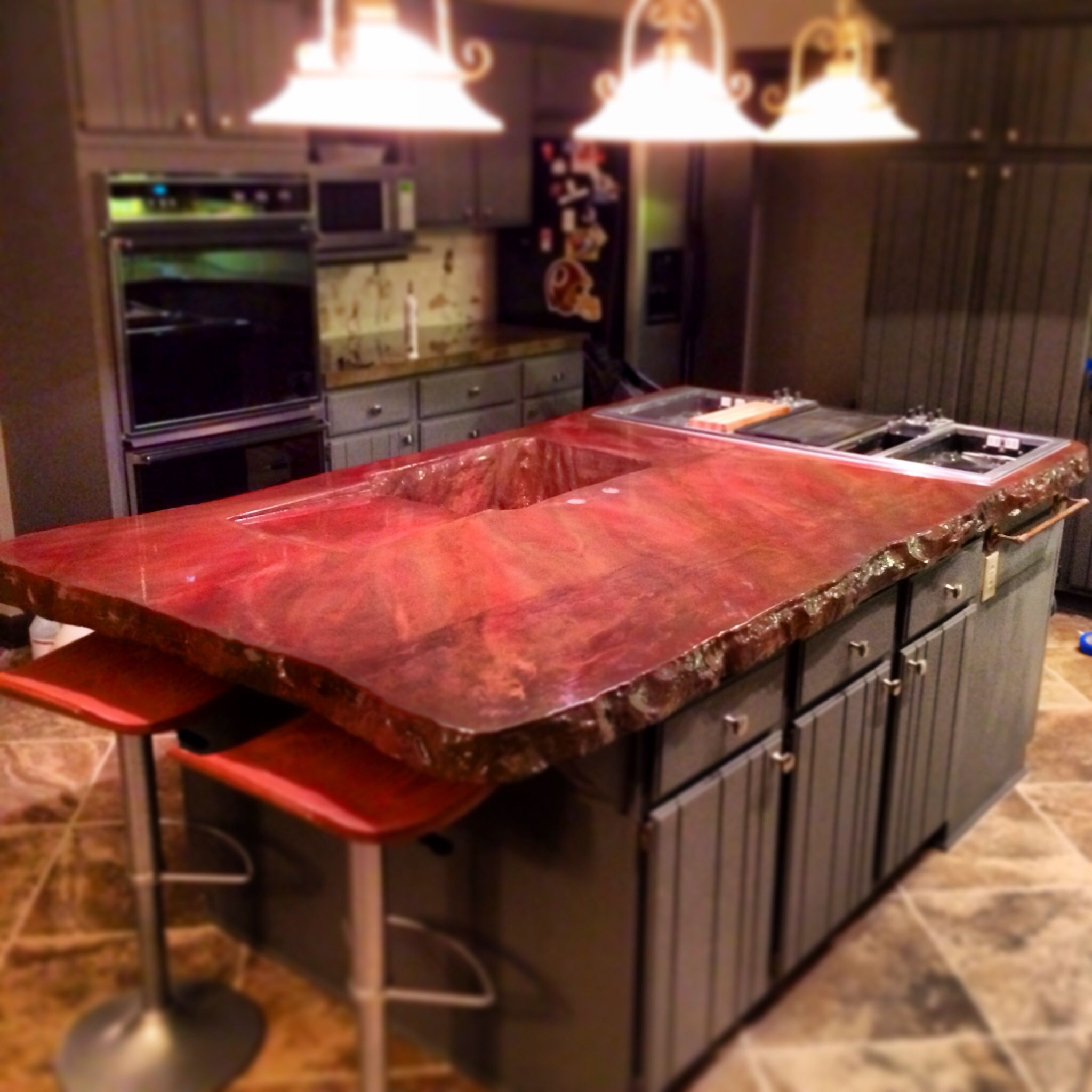 Concrete Countertop Stained Red With A 3 Edge Stained Kitchen Cabinets Concrete Countertops Kitchen Cabinets