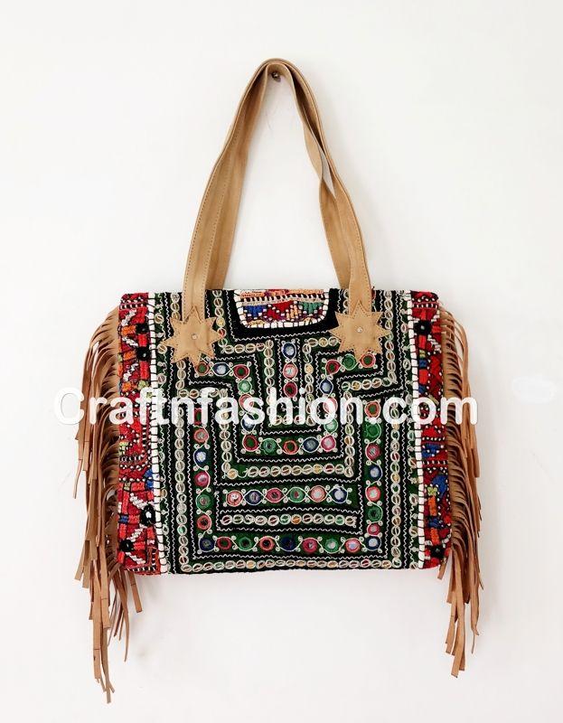 Exclusive Leather Fringe Bohemian Banjara Gypsy Shoulder Bag Indian 2017 Stylish Fringes Handbag