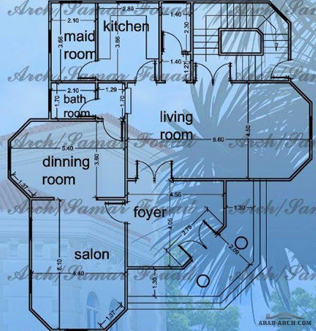 خريطة فيلا رائعه صغيرة المساحه مخطط الدور 150 متر مربع
