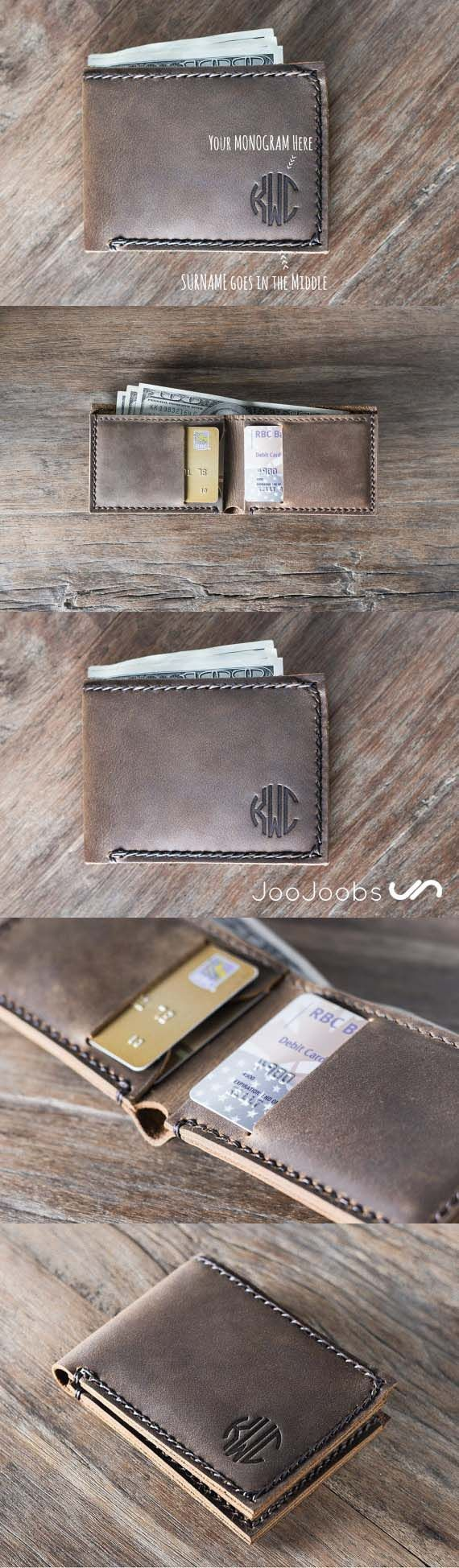 Super slim bifold wallet. This handmade leather wallet is the perfect gift for groomsmen. Get their initials monogrammed, to commemorate your big day. Celebrate in style!! #monogram #Wallet