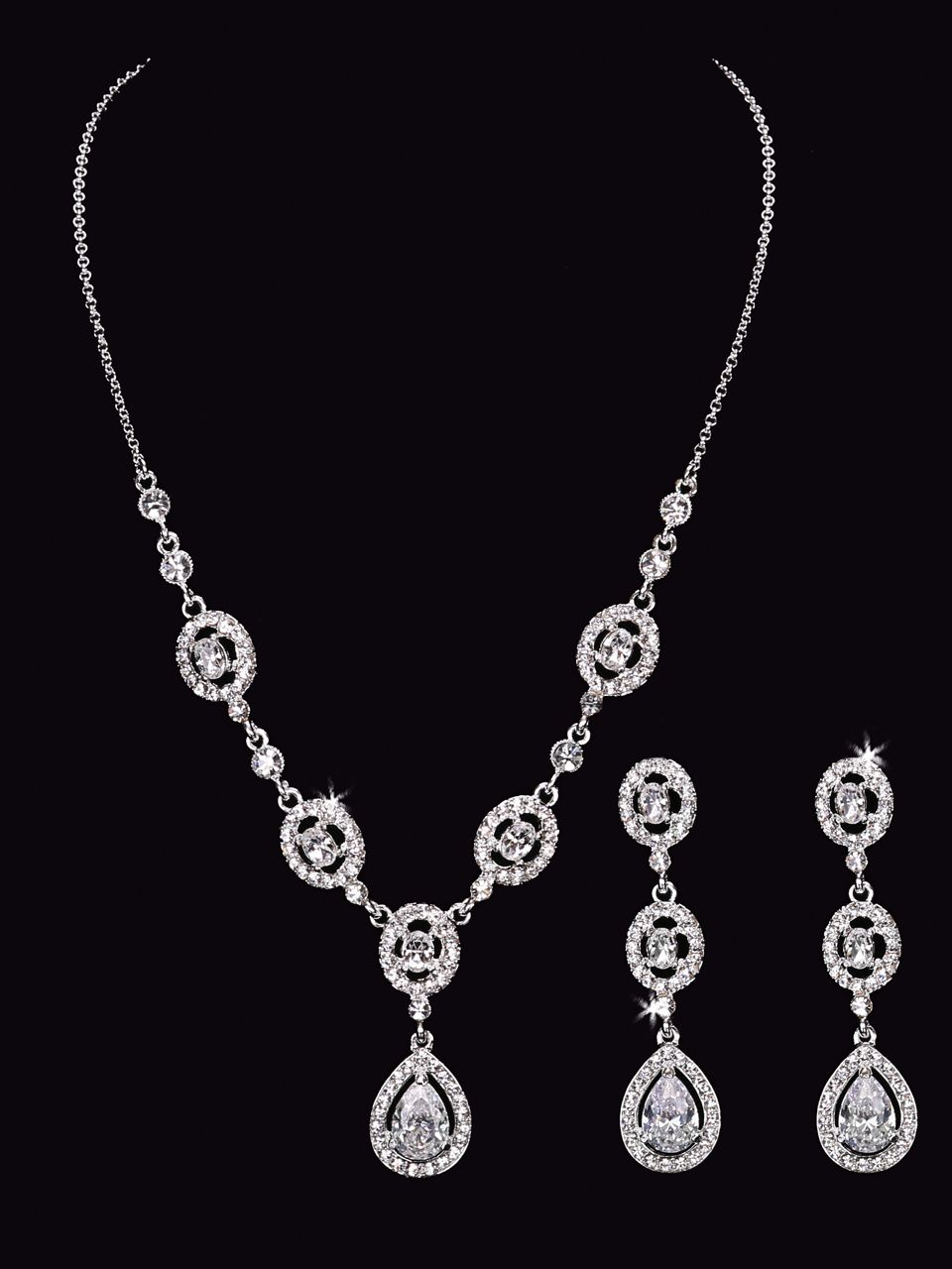 Rhinestone necklace with matching earrings bridal accessories