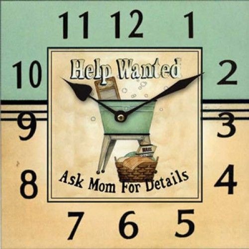 Laundry Help Wanted Square Wall Clock Design By Linda Spivey 2695