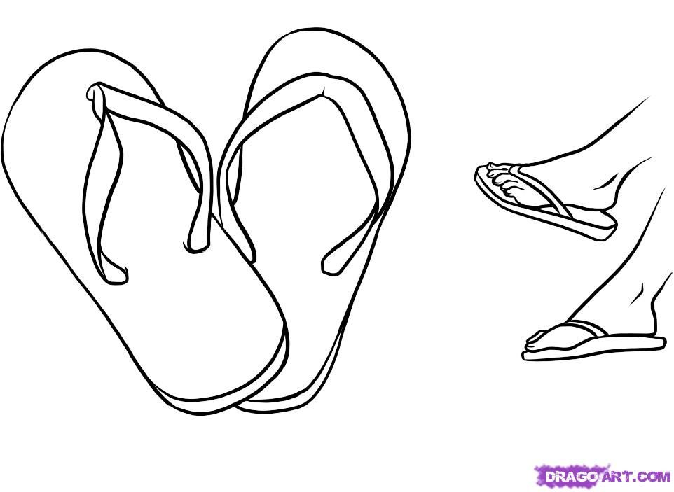 How to Draw Flip Flops Step by