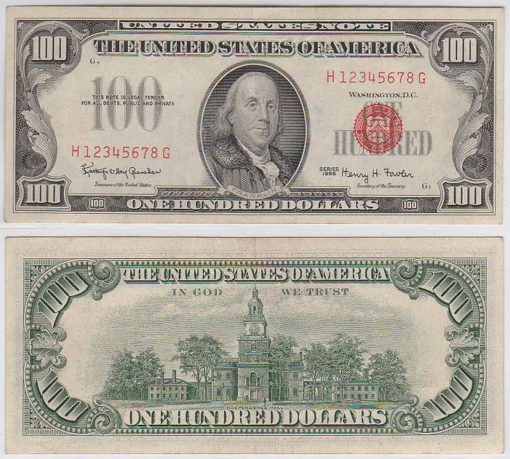 U S Currency 1966 100 Red Seal United States Note Specimen