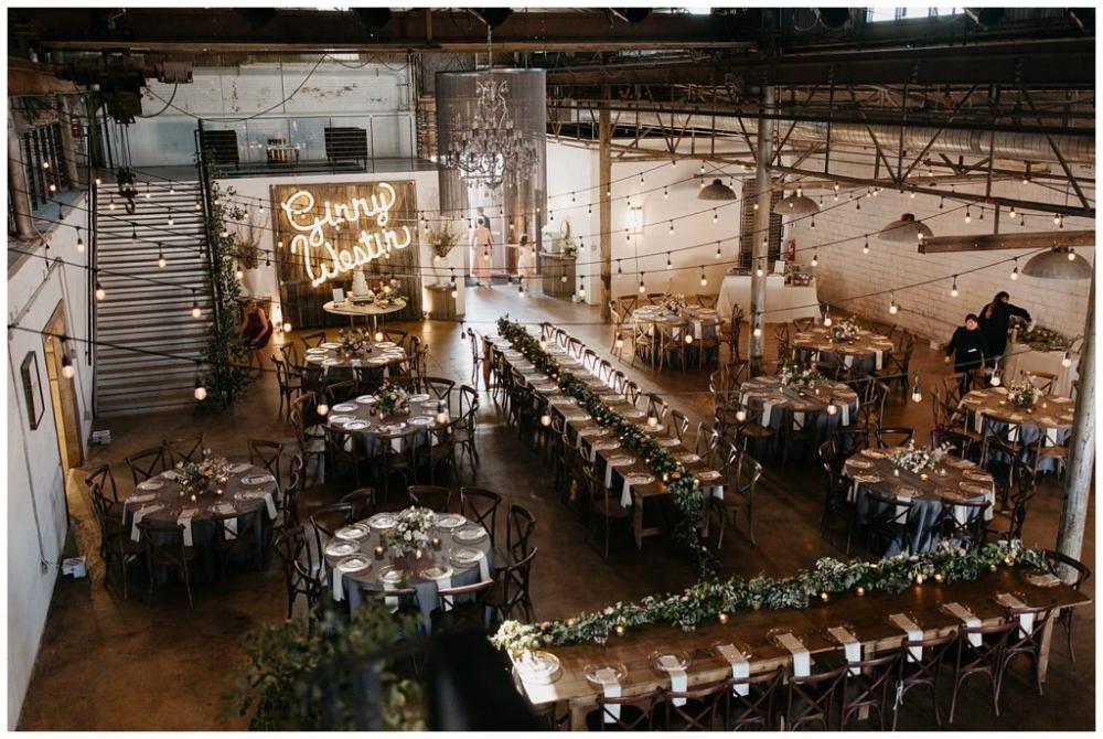 Industrial Garden Wedding At The 4 Eleven With Romantic Details Industrial Wedding Venues Industrial Wedding Reception Warehouse Wedding Decorations