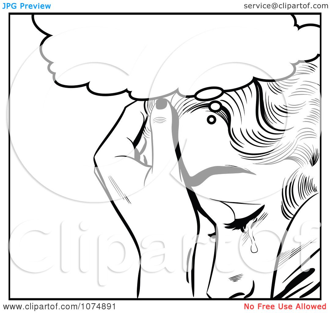 Clipart-Black-And-White-Retro-Pop-Art-Woman-Crying-Under-A-Thought ...
