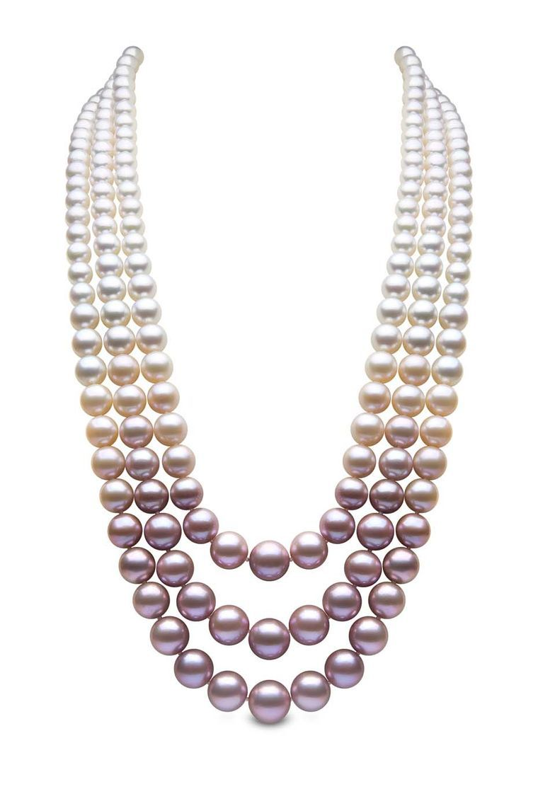 Yoko London Threestrand Pearl Necklace With South Sea, Akoya And Natural  Colour Pink