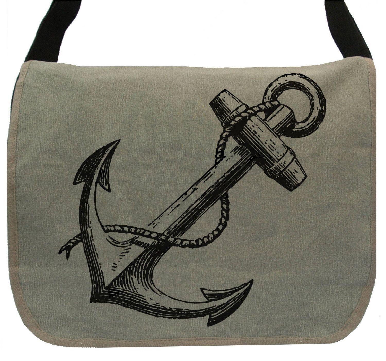 Vintage Anchor -- Canvas messenger bag -- large field bag -- adjustable strap. $36.50, via Etsy.