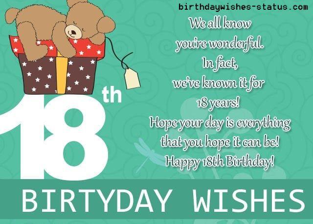 Best Happy 18th Birthday Wishes 18th Birthday Status Happy