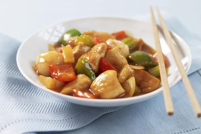 This recipe for deep-fried sweet and sour chicken features a tangy sauce made with lemon juice and red wine vinegar