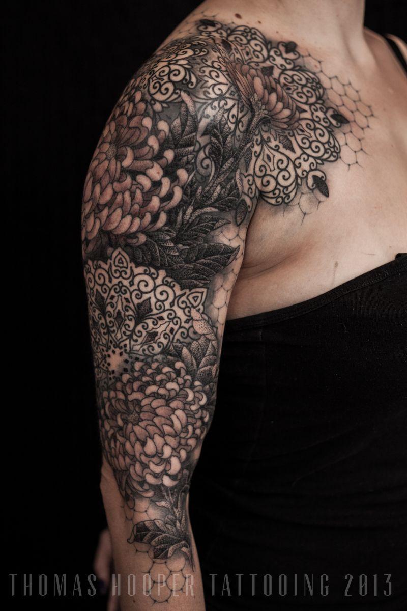 Lace Chrysanthemum Mandala Ornamental Tattoo Sleeve Thomas HooperTattooing_4