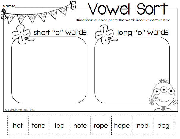 March Printable Packet - Kindergarten Literacy and Math. Long and Short vowel sort for St. Patrick's Day.