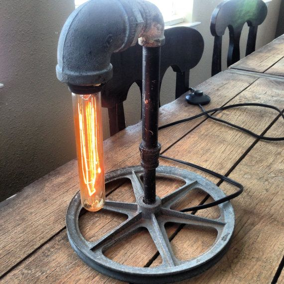 Industrial Lamp Pipe and Pulley table light | Industrial ...